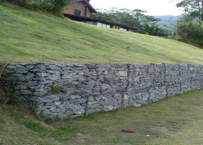 Joint en pierre gris de mur de sout nement de cage de pvc pour le sol fil d 39 acier inoxydable - Mur soutenement pierre ...